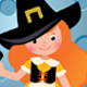 Girl in Witch Costume Halloween Party - GraphicRiver Item for Sale