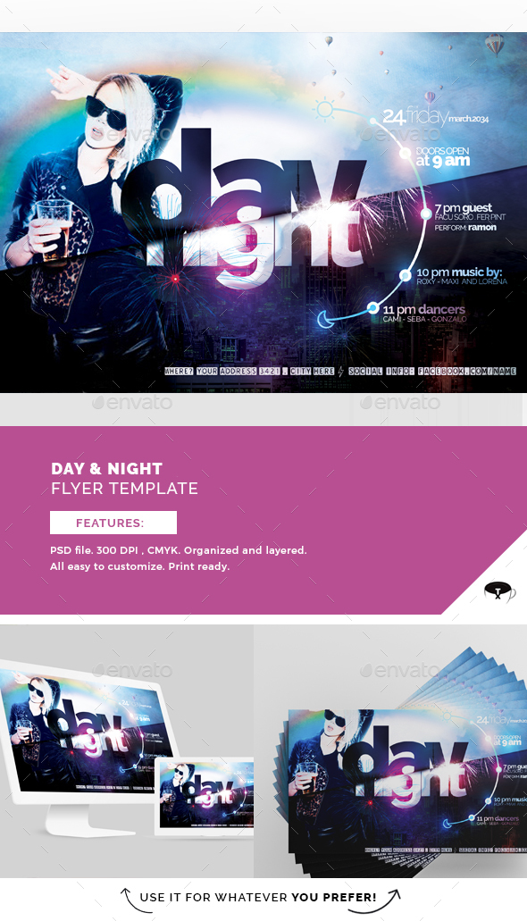 Day & Night Flyer Template - Clubs & Parties Events