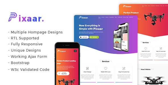 Pixaar - Creative App & Product Showcase Landing Page + RTL - Site Templates