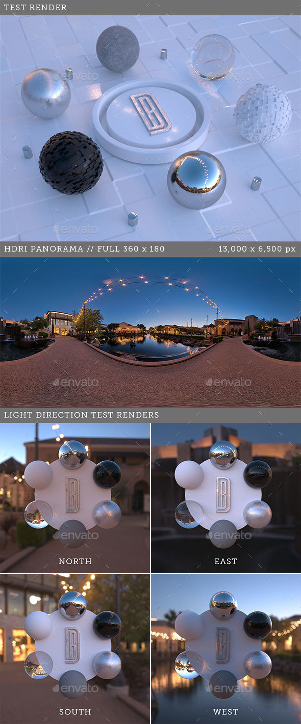 HDRI spherical sky panorama - 006 - Outdoor Plaza at Dusk - 3DOcean Item for Sale