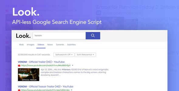 Look - The API-Less Google Search Engine Script            Nulled