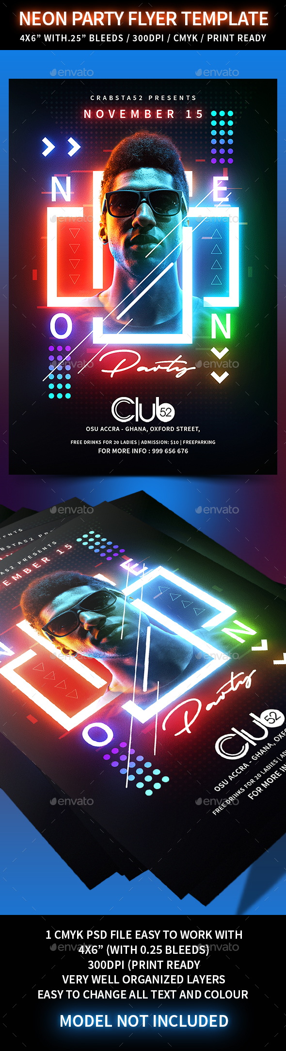 Neon Party Flyer Template - Events Flyers