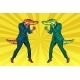 Fight Between Two Businessmen Crocodiles