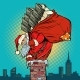Santa Claus with Money Climbs Into the Chimney - GraphicRiver Item for Sale