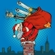 Santa Claus with Champagne Climbs the Chimney - GraphicRiver Item for Sale