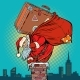 Santa Claus with a Suitcase Climbs Into Chimney - GraphicRiver Item for Sale