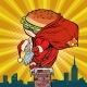 Santa Claus with a Burger Climbs Into the Chimney - GraphicRiver Item for Sale