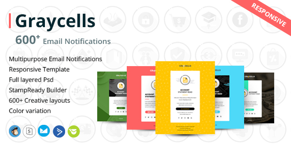 Graycells - 600 Responsive Email Notification with StampReady Online Builder Access - Email Templates Marketing