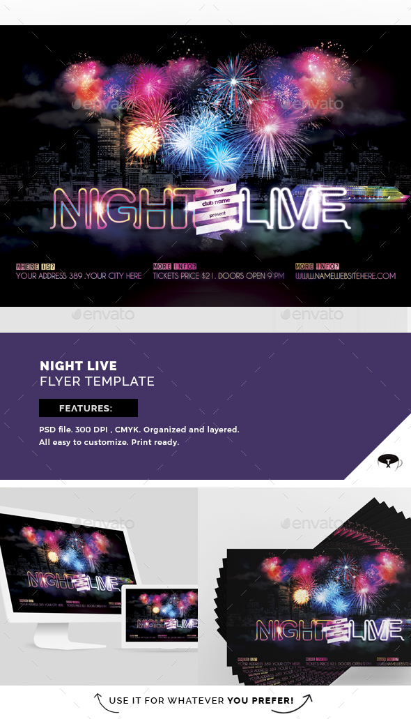 Night Live Flyer Template - Flyers Print Templates