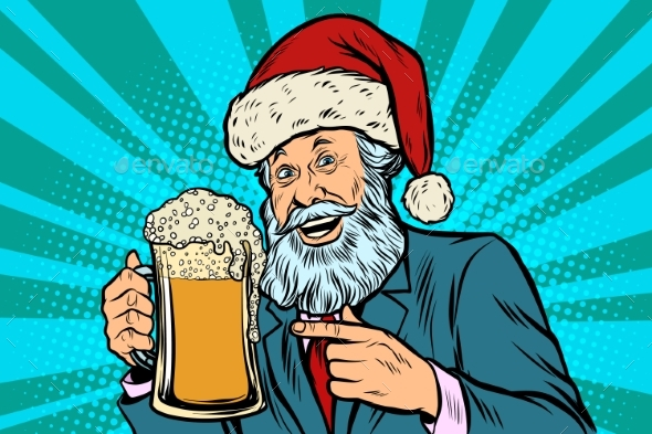 Old Man in a Christmas Cap with a Mug of Foam Beer - Christmas Seasons/Holidays