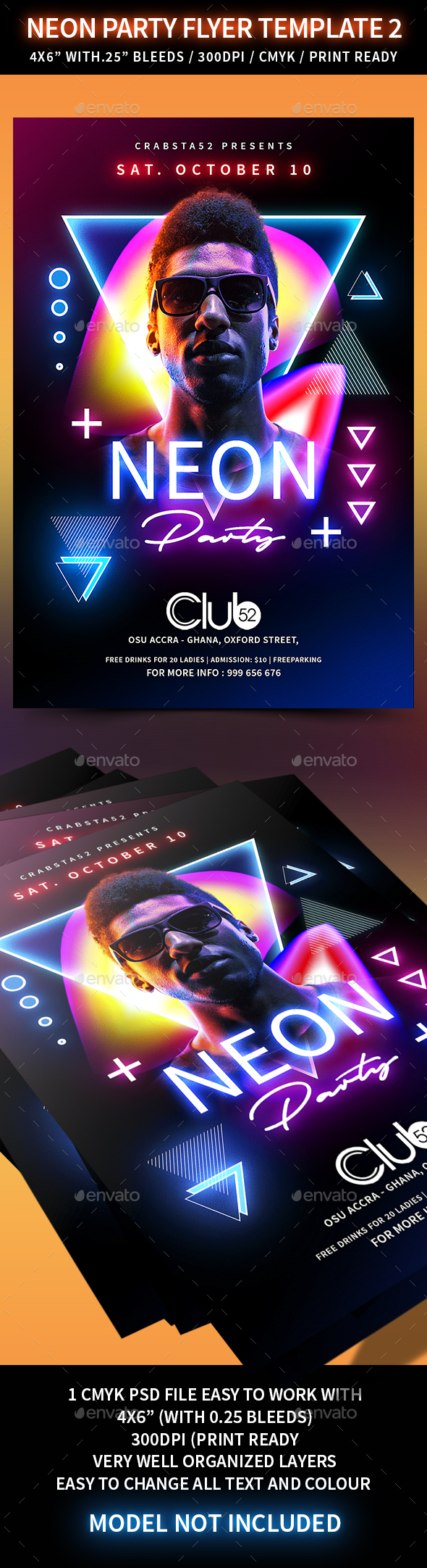 Neon Party Flyer Template 2 - Clubs & Parties Events