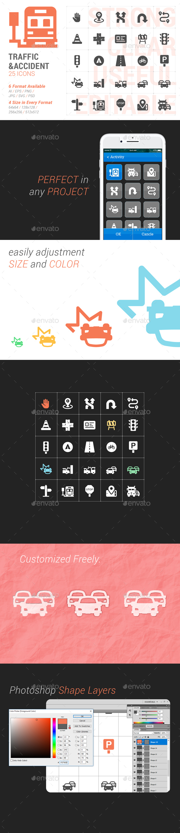 Traffic & Accident Filled Icon - Icons