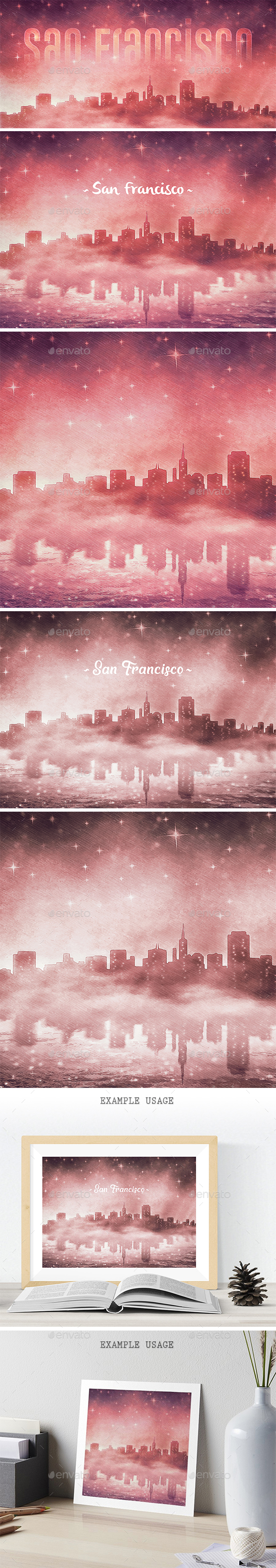 San Francisco Skyline at Night Backgrounds - Urban Backgrounds