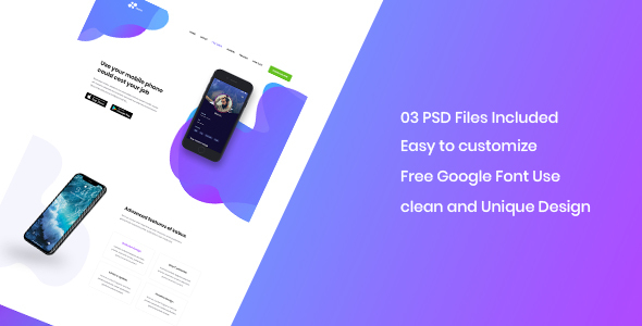 Kabus - clean and modern app landing page PSD template - PSD Templates