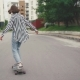 Girl Riding Skateboard Longboard at Street - VideoHive Item for Sale