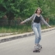 Girl Riding Skateboard Longboard at Street Summer Time - VideoHive Item for Sale