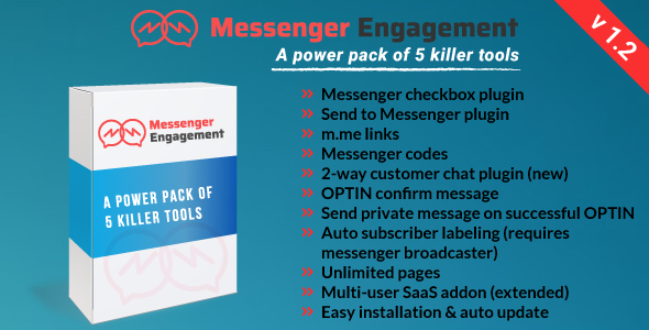 Messenger Engagement - A Bot Inboxer Add-on : A Power Pack of 5 Messenger Engagement Tools            Nulled