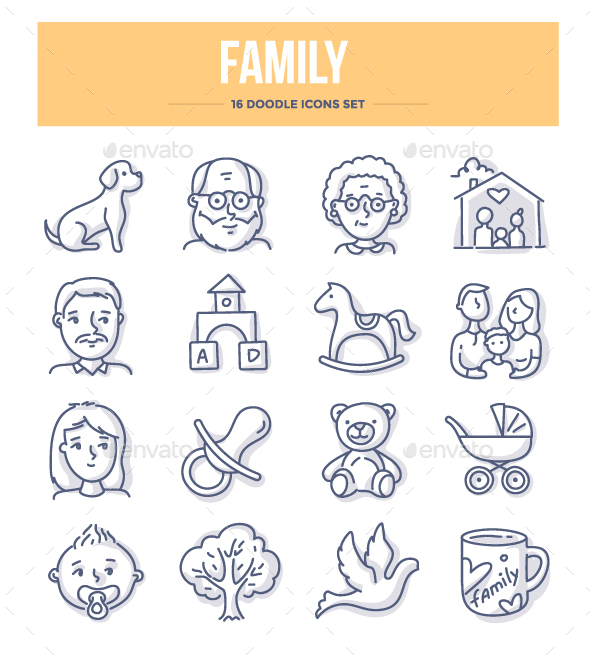 Family Doodle Icons - People Characters