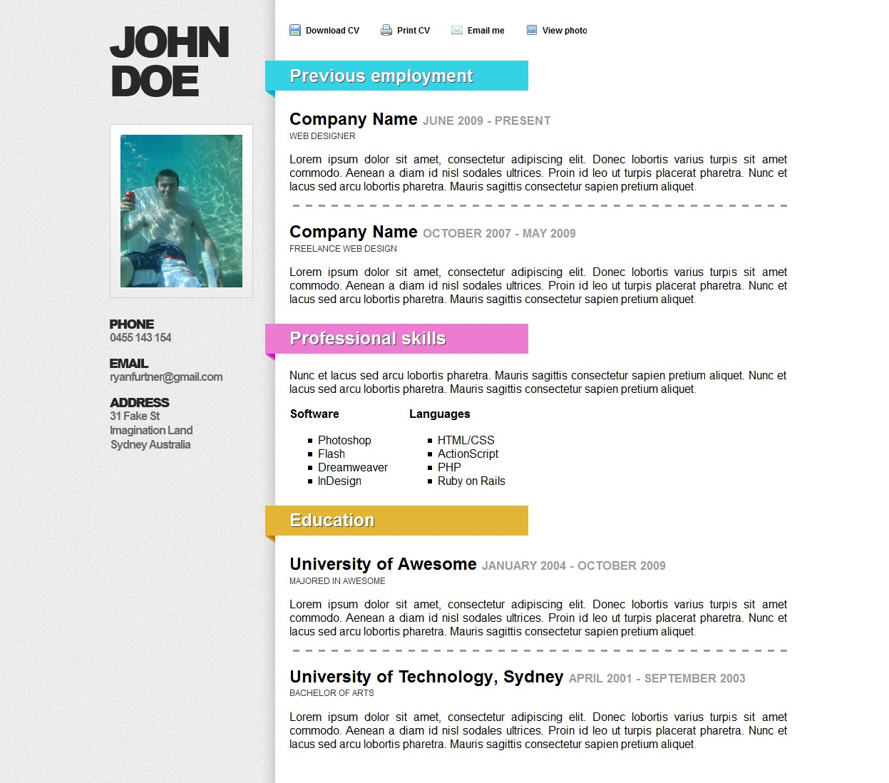 5 exles of beautiful resume cv web templates