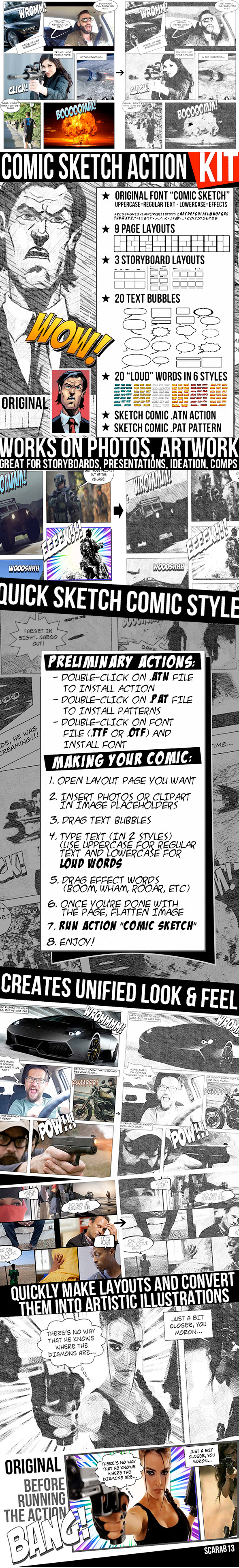 Comic Sketch Action Kit for Photoshop - Photo Effects Actions