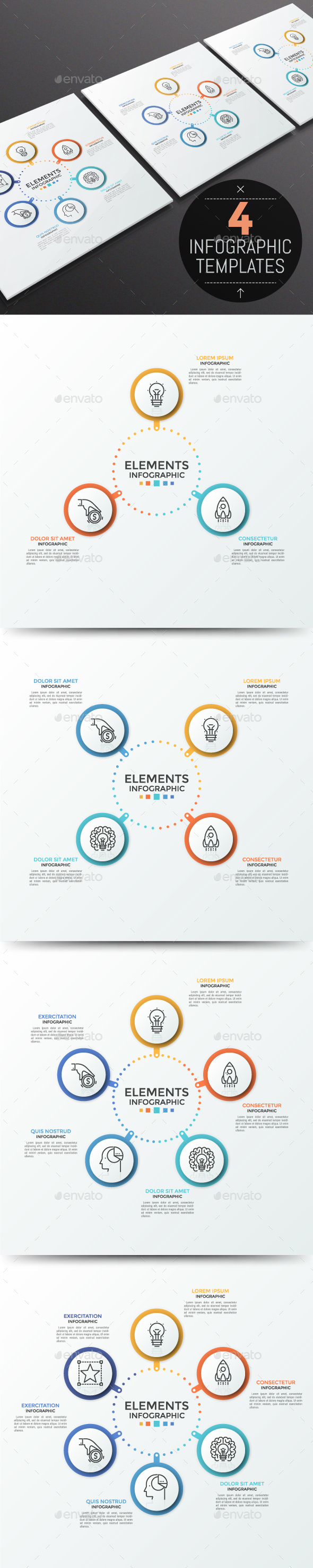Modern Infographic Circular Template (4 Items) - Infographics