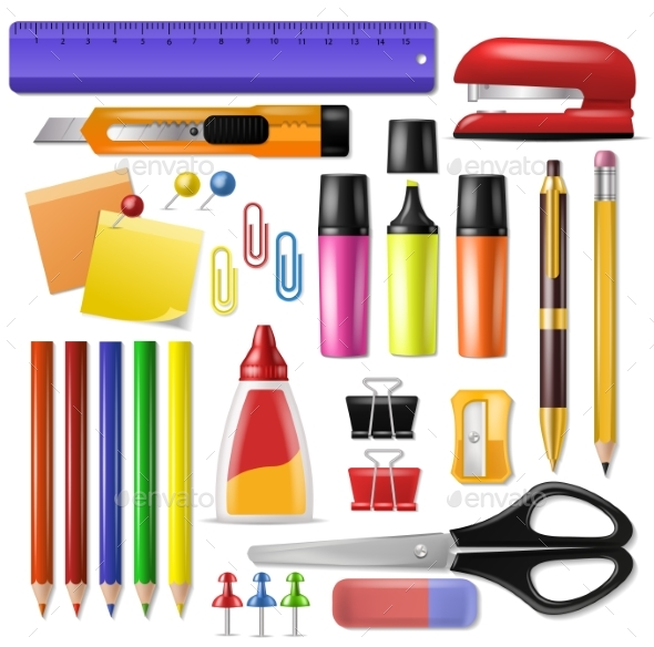 Office Supply Vector Stationery School Tools Icons - Man-made Objects Objects