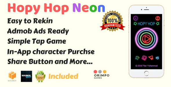 Hopy Hop Neon Color - Buildbox Game Template & Android Eclipse Project - CodeCanyon Item for Sale