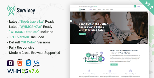 Serviney - Multipurpose Internet Service Provider Template - Technology Site Templates