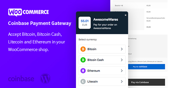 WooCommerce Coinbase Cryptocurrency Payment Gateway – Accept Cryptocurrencies in WooCommerce            Nulled