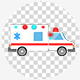 Cartoon Ambulance Car With Red And Blue Flasher Light Siren 4K - VideoHive Item for Sale