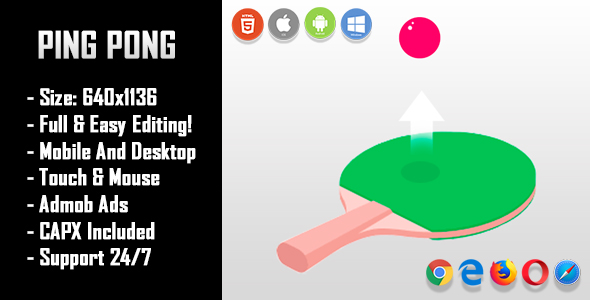 Ping Pong - HTML5 Game + Mobile Version! (Construct-2 CAPX)            Nulled