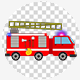 Cartoon Fire Truck With Red And Blue Flasher Light Siren 4K - VideoHive Item for Sale