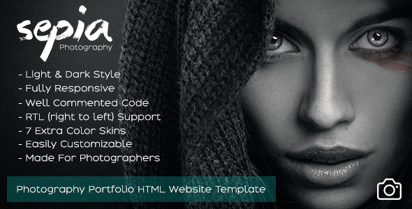 Sepia - Photography Portfolio HTML Website Template - Photography Creative