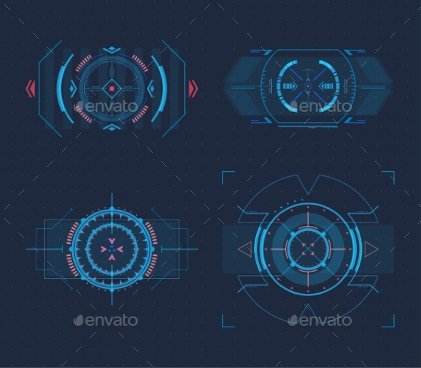 Set of Isolated Optical Sights for Weapons - Miscellaneous Vectors