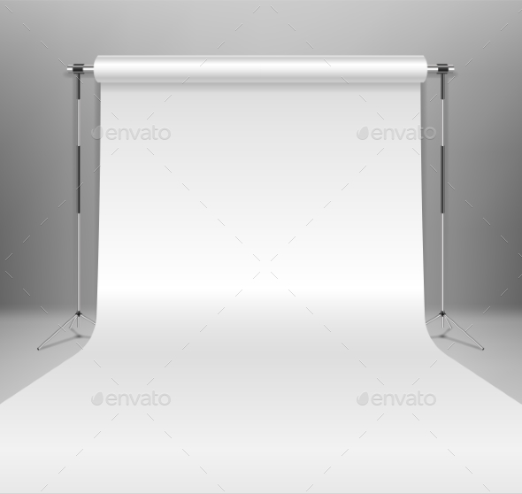 Realistic Empty White Photo Studio Backdrop - Man-made Objects Objects
