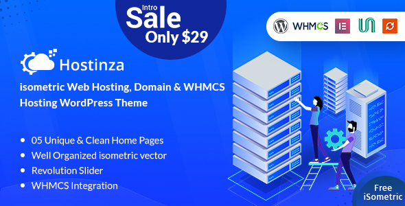Hostinza - Isometric Domain & Web Hosting Wordpress Theme