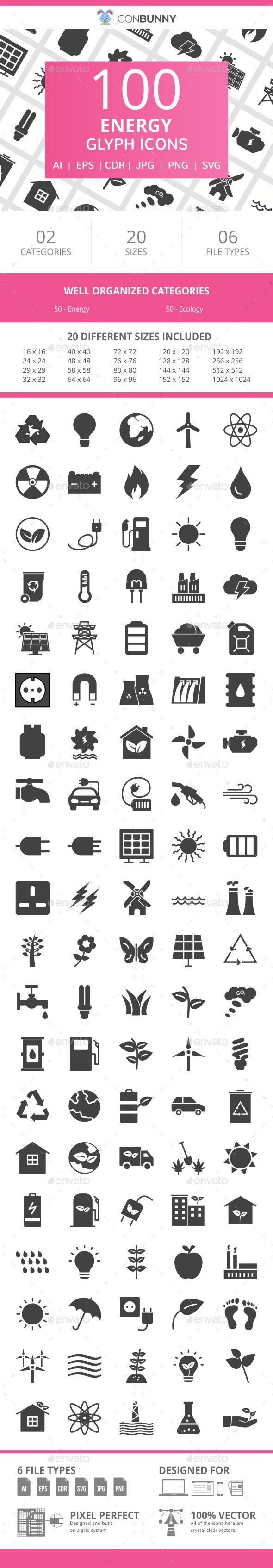 100 Energy Glyph Icons - Icons