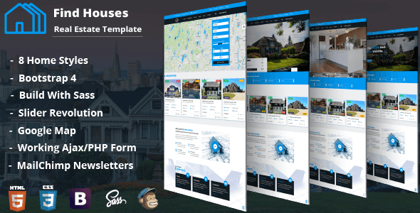 Find Houses - Real Estate HTML Template - Business Corporate