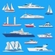 Ships Vector Boats or Cruise Travelling in Ocean