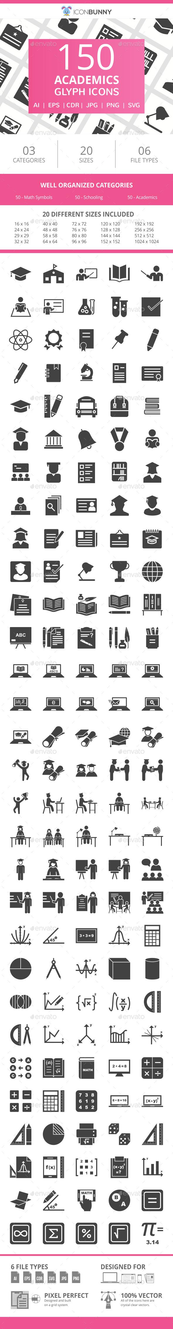 150 Academics Glyph Icons - Icons