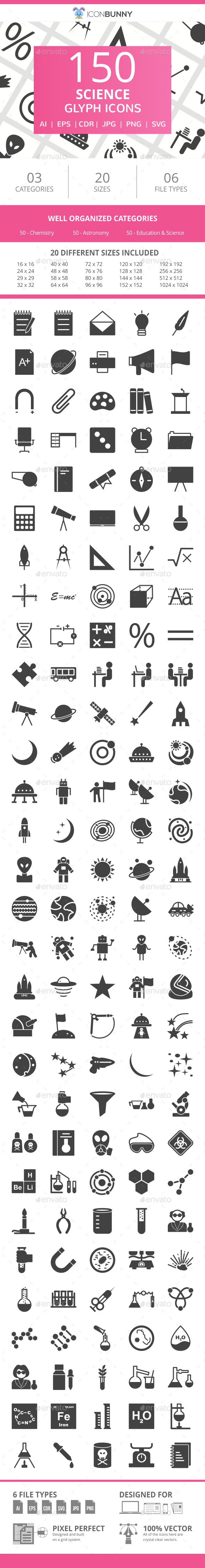 150 Science Glyph Icons - Icons