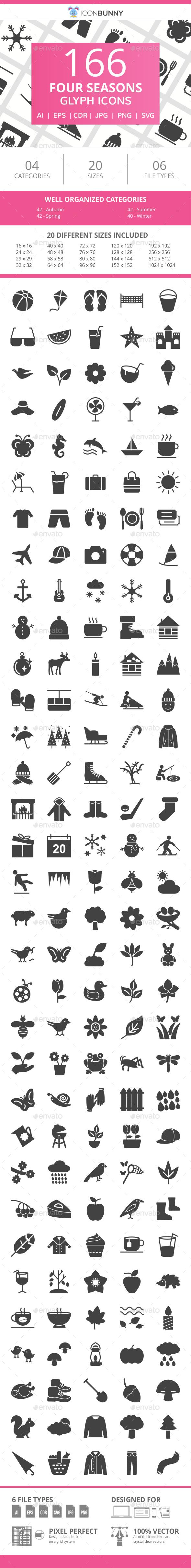 166 Four Seasons Glyph Icons - Icons