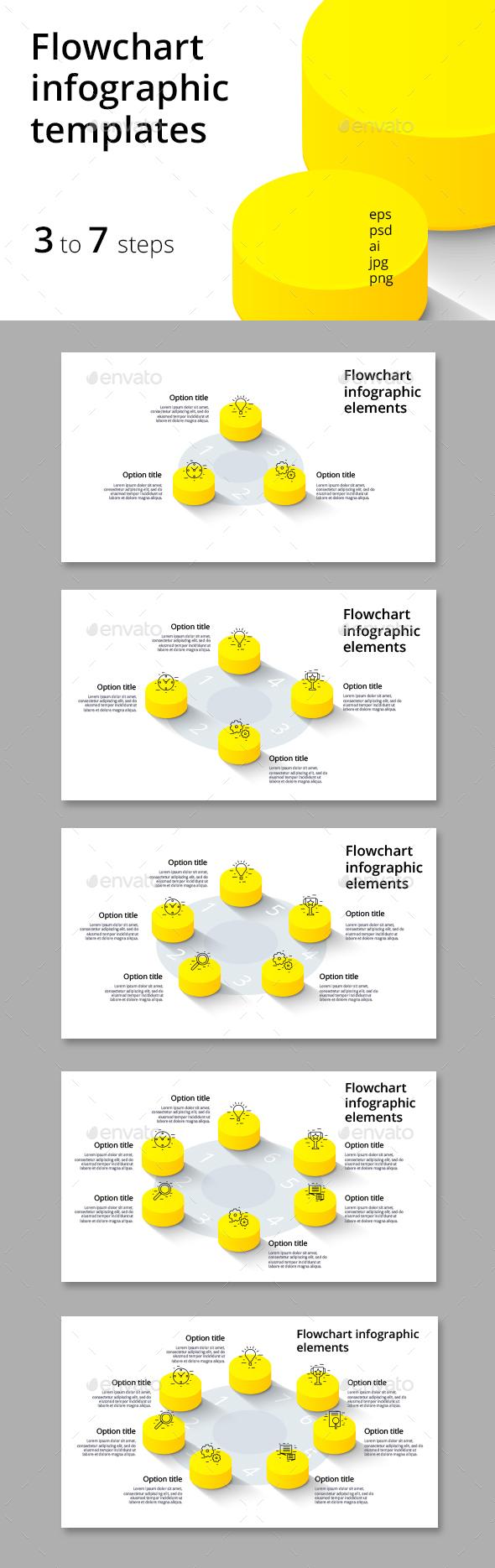 3-7 step flowchart infographics - Infographics