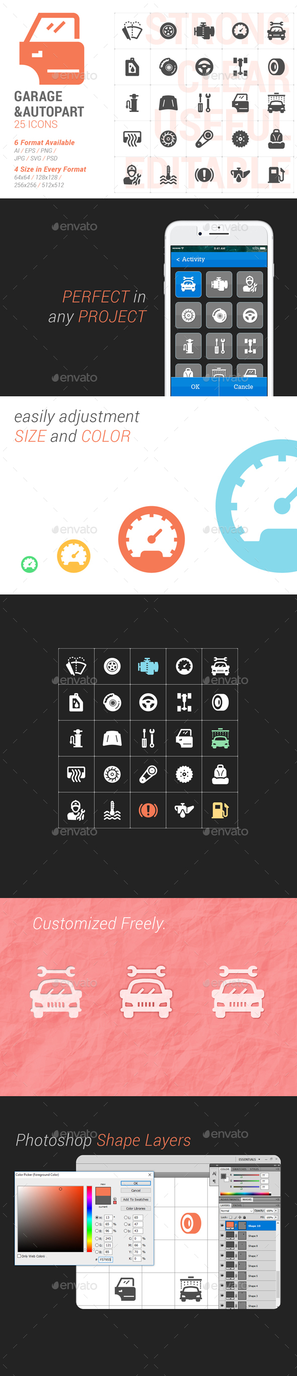 25 Garage & Auto Part Filled Icon - Icons