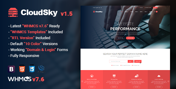 CloudSky | Multipurpose Domain, Hosting and WHMCS Template - Hosting Technology