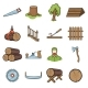 Sawmill and Timber Cartoon Icons