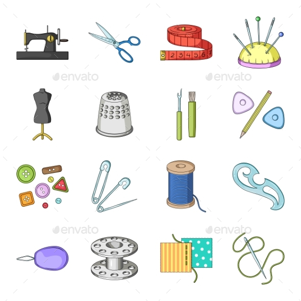 Sewing Atelier Cartoon Icons in Set - Miscellaneous Vectors