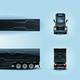 Futuristic Semi Trailer Truck Realistic Vector Set
