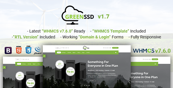 GREENSSD | Multipurpose Technology, Hosting Business with WHMCS Template - Hosting Technology