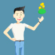 Cartoon Character Man Catches Some Coins into the Purse - VideoHive Item for Sale